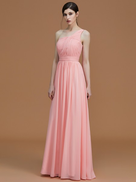 A-Line/Princess One-Shoulder Floor-Length Chiffon Ruched Bridesmaid Dress