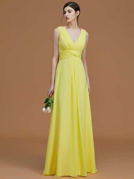 A-Line/Princess V-neck Floor-Length Chiffon Ruched Bridesmaid Dress