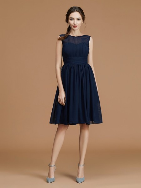 A-Line/Princess Bateau Short/Mini Chiffon Ruffles Bridesmaid Dress