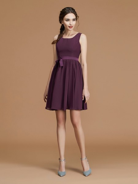 A-Line/Princess Bateau Short/Mini Chiffon Sash/Ribbon/Belt Bridesmaid Dress