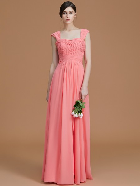 A-Line/Princess Sweetheart Floor-Length Chiffon Ruched Bridesmaid Dress