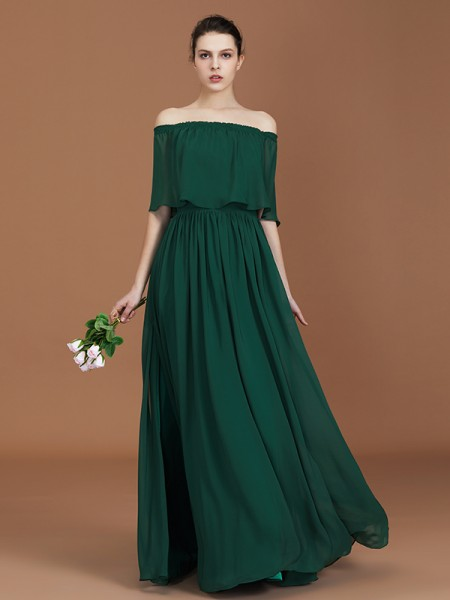 A-Line/Princess Off-the-Shoulder Floor-Length Chiffon Bridesmaid Dress