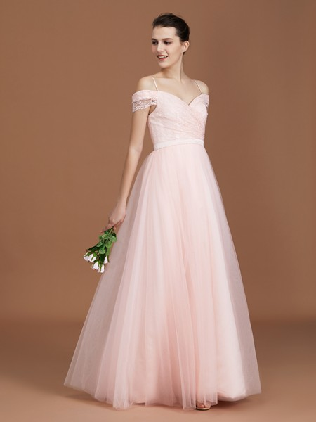 A-Line/Princess Lace Spaghetti Straps Sweetheart Floor-Length Tulle Ruched Bridesmaid Dress