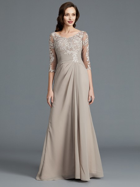 A-Line/Princess Scoop Chiffon Floor-Length Applique Mother of the Bride Dress