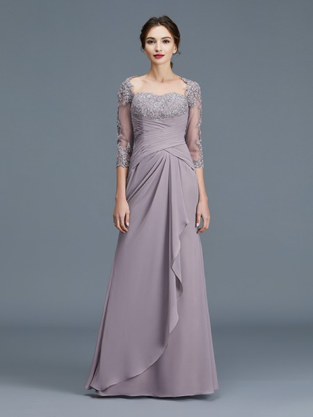 Sheath/Column Sweetheart Chiffon Floor-Length Ruffles Mother of the Bride Dress