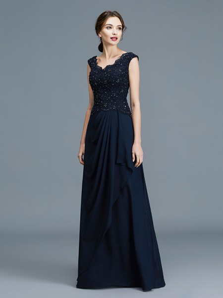 A-Line/Princess V-neck Floor-Length Chiffon Ruffles Mother of the Bride Dress