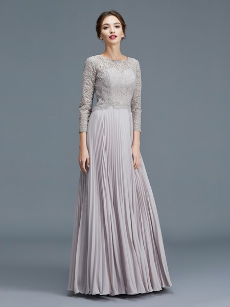 A-Line/Princess Scoop Chiffon Floor-Length Mother of the Bride Dress