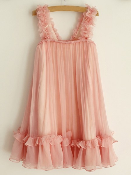 A-Line/Princess Straps Ruffles Sleeveless Chiffon Knee-Length Flower Girl Dresses