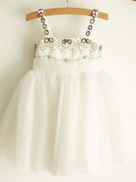 A-Line/Princess Straps Beading Sleeveless Tulle Knee-Length Flower Girl Dresses
