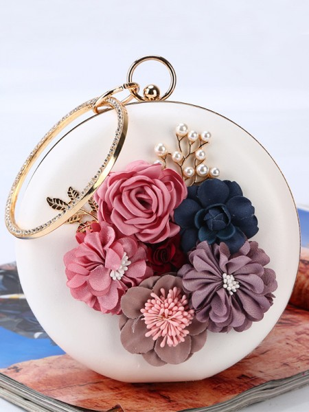 Round PU Party Handbags With Flowers