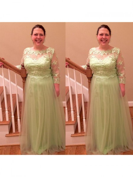 A-Line/Princess Sheer Neck Floor-Length Tulle Applique Mother of the Bride Dress