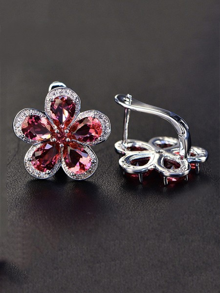 Luxurious S925 Silver With Gemstone Earrings