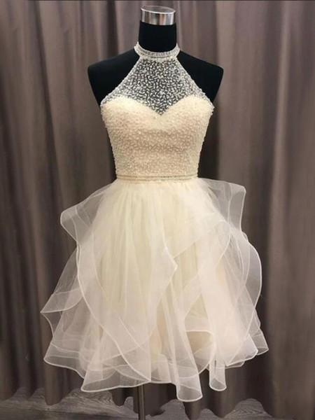 A-Line/Princess Organza Beading Halter Sleeveless Short/Mini Dresses