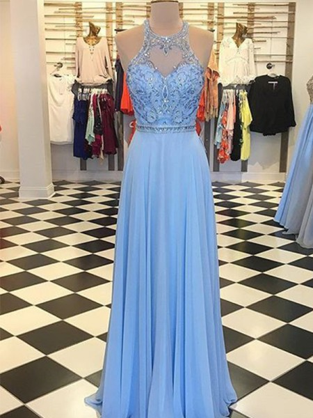 A-Line/Princess Chiffon Beading Halter Sleeveless Long Dresses