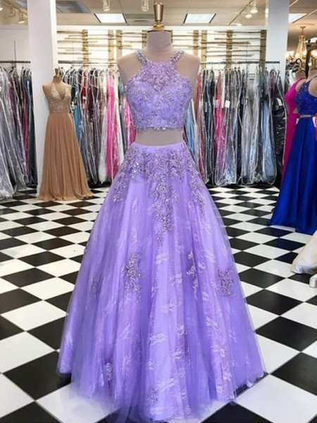 A-Line/Princess Tulle Beading Halter Sleeveless Long Two Piece Dresses