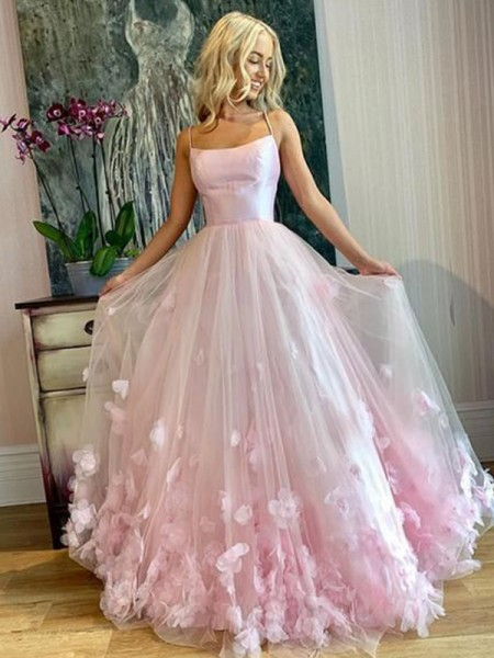 A-Line/Princess Bateau Tulle Applique Long Sleeveless Dresses