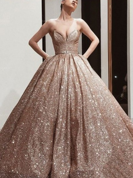 Ball Gown Sequins Sweetheart Sleeveless Sweep/Brush Train Dresses