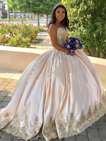 Ball Gown Beading Sleeveless Sweetheart Sweep/Brush Train Satin Dresses