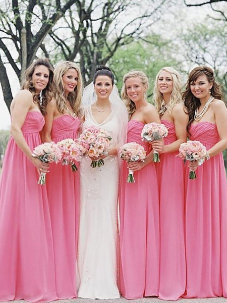 A-Line/Princess Sweetheart Chiffon Floor-Length Bridesmaid Dress