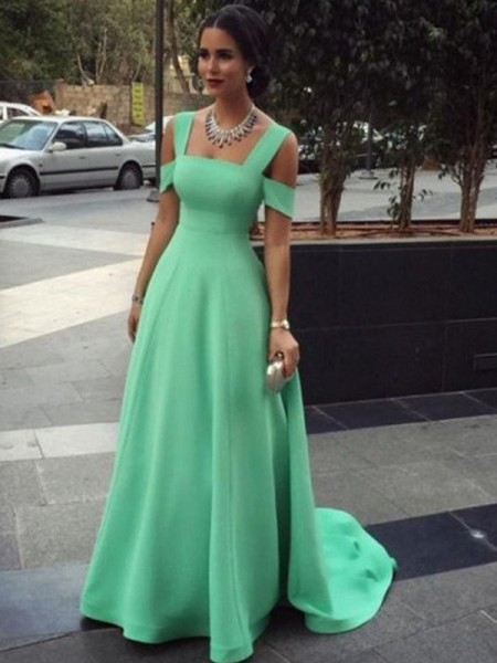 A-Line/Princess Straps Sleeveless Floor-Length Satin Dress