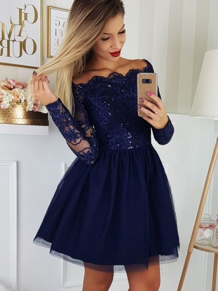 A-Line/Princess Tulle Applique Off-the-Shoulder Long Sleeves Short/Mini Dresses