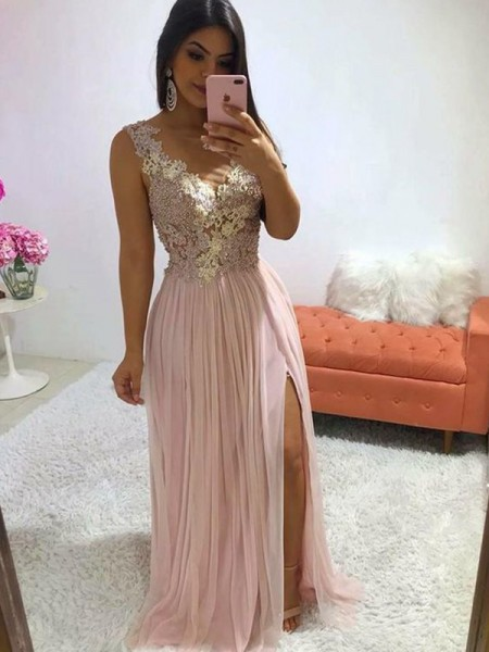 A-Line/Princess Chiffon Applique Sleeveless Sweep/Brush Train V-neck Dresses