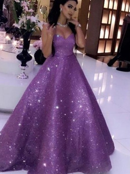 Ball Gown Sequins Sweetheart Sleeveless Ruffles Sweep/Brush Train Dresses