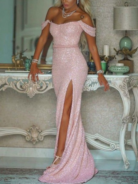Trumpet/Mermaid Off-the-Shoulder Sequins Sleeveless Sash/Ribbon/Belt Sweep/Brush Train Dresses