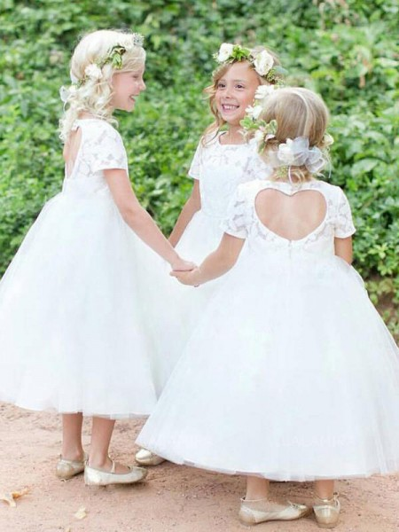 Ball Gown Short Sleeves Scoop Tea-Length Lace Tulle Flower Girl Dresses