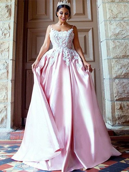 Ball Gown Sleeveless Spaghetti Straps Sweep/Brush Train Applique Satin Dress