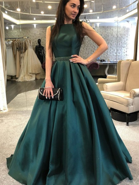 A-Line/Princess Sleeveless Sweep/Brush Train Beading Satin Dress