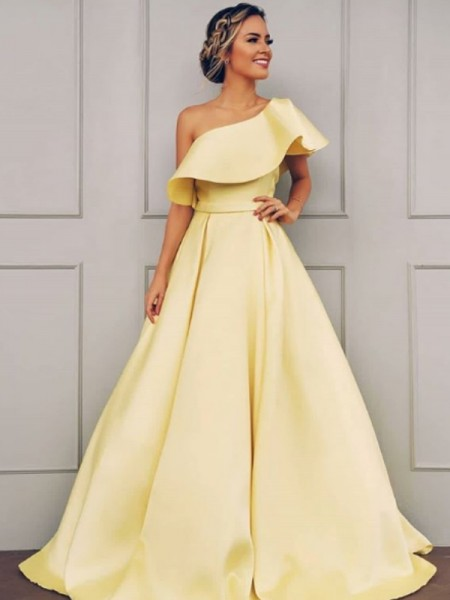 A-Line/Princess Sleeveless One-Shoulder Floor-Length Ruffles Satin Dress