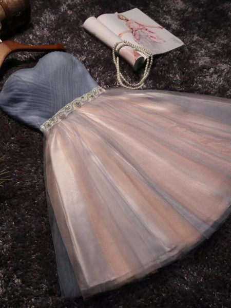 A-Line/Princess Sleeveless Sweetheart Tulle Beading Short/Mini Dress