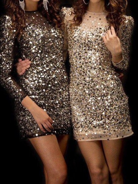 Sheath/Column Long Sleeves Sequin Beading Short/Mini Dress