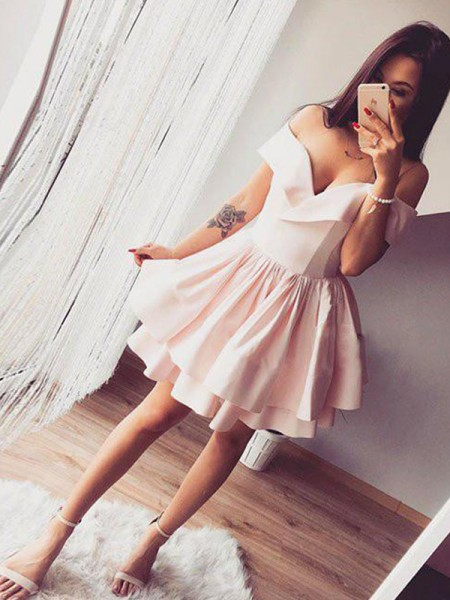 A-Line/Princess Sleeveless Satin Knee-Length Dress