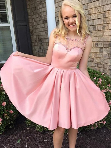 A-Line/Princess Ruffles Satin Sleeveless Knee-Length Dress