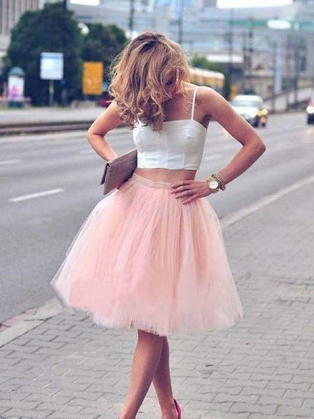 A-Line Tulle Sleeveless With Pleats Spaghetti Straps Knee-Length Two Piece Dress