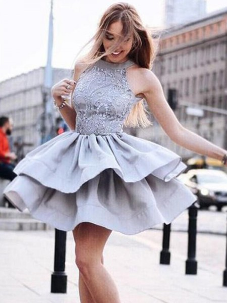 A-Line/Princess Satin Sleeveless Ruffles Short/Mini Dress