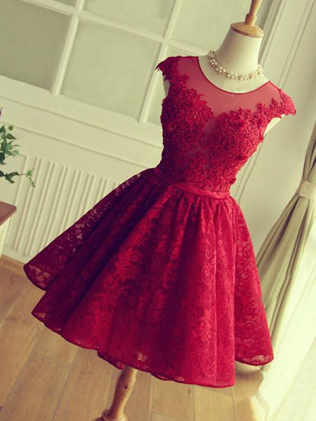 A-Line/Princess Jewel Sleeveless Lace Short/Mini Dresses