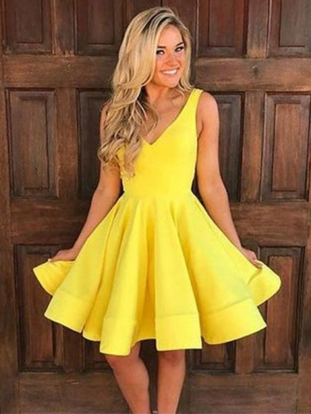 A-Line/Princess Sleeveless Straps Satin Ruffles Short/Mini Dress