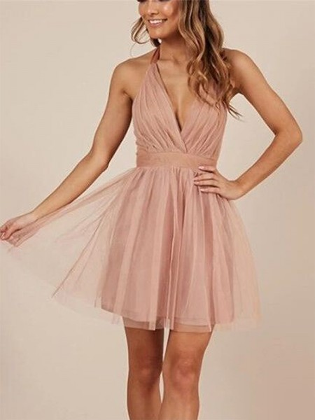 A-Line/Princess Sleeveless Tulle Ruffles Short/Mini Dress