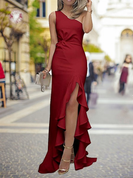 Sheath/Column One-Shoulder Sweep/Brush Train Ruffles Satin Dress