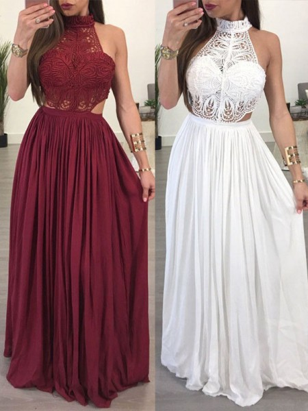 A-Line/Princess Sleeveless Halter Long Chiffon Lace Dress