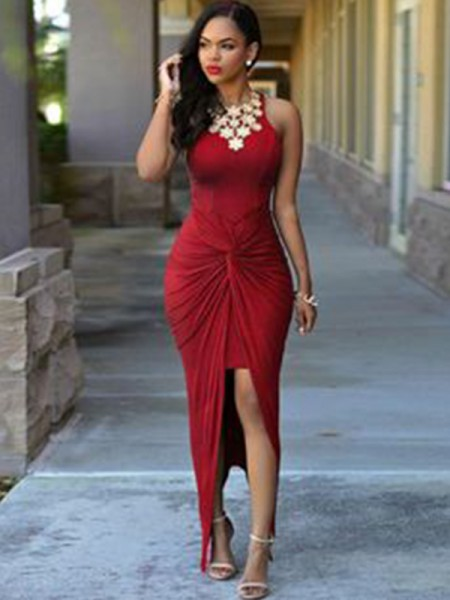 Sheath/Column Sleeveless Jewel Ankle-Length Spandex Beading Asymmetrical Dress