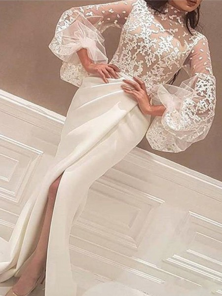 Trumpet/Mermaid Long Sleeves High Neck Lace Sweep/Brush Train Satin Dress