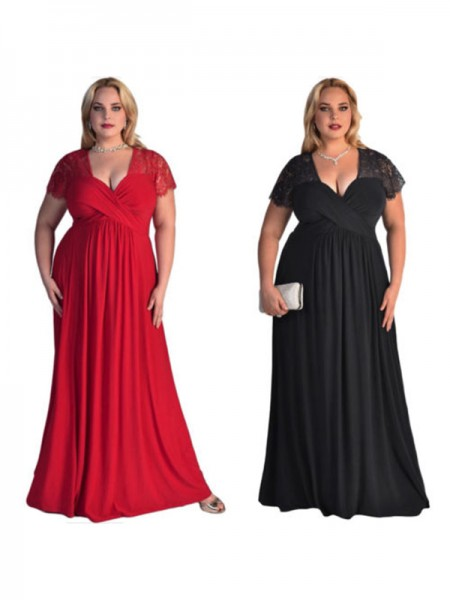 A-Line/Princess Short Sleeves V-neck Floor-Length Lace Chiffon Plus Size Dress