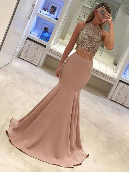 Trumpet/Mermaid Sleeveless High Neck Sweep/Brush Train Beading Satin Two Piece Dress