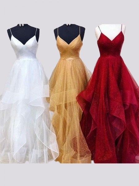 A-Line/Princess Sleeveless Spaghetti Straps Floor-Length Organza Ruffles Dress
