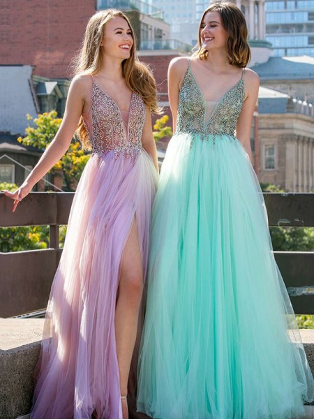 A-Line/Princess Sleeveless V-neck Floor-Length Beading Tulle Dress