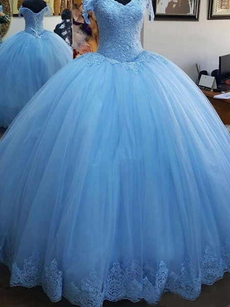 Ball Gown Off-the-Shoulder Sleeveless Lace Sweep/Brush Train Tulle Dress